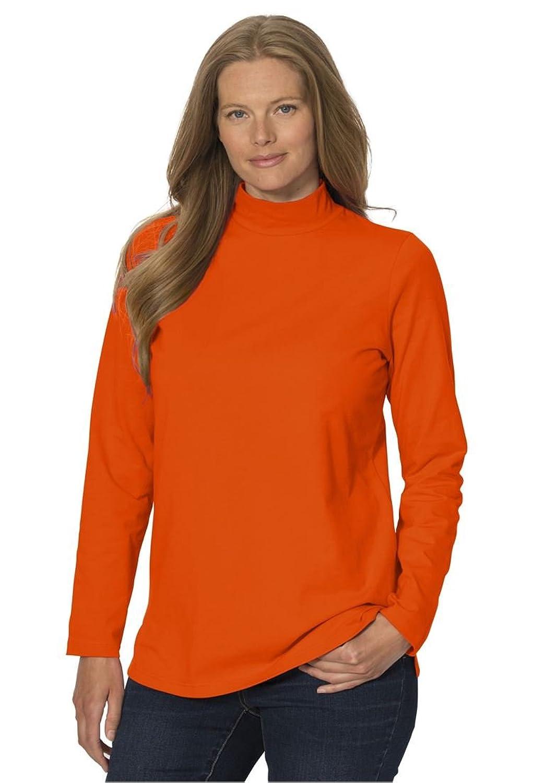Women's Plus Size Long Sleeve Modern Stretch Knit Mock Turtleneck