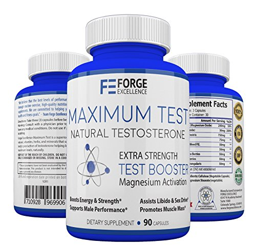 Forge Excellence - Maximum Test Best Natural Testosterone Supplement - Healthy & Powerful Mens Testosterone Booster, Advanced Formula Promotes Muscle Growth, Boosts Libido & Boosts Energy Levels