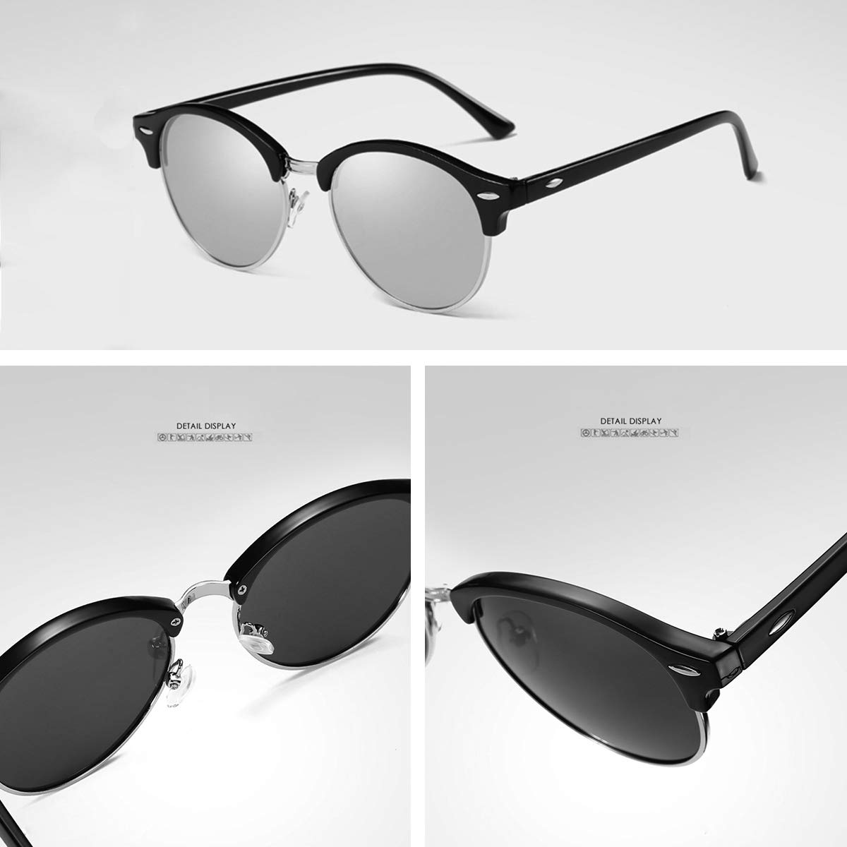 Amazon.com: Gafas de sol polarizadas con remaches de metal y ...