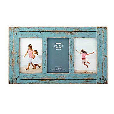 PRINZ Homestead 4-Inch by 6-Inch Distressed Wood Collage Picture Frame for Three Photos, Blue - Charming Rustic Design – This distressed frame brings rustic charm to any room thanks to the hand-distressed finish Collage-Style Frame – Offers room for three 4-by-6 photos; Ideal for showcasing a group of photographs from a special event, photo shoot or holiday Quality at a Great Value – Affordable price and long-lasting construction; Made from high-quality MDF and sturdy hardware for lasting performance - picture-frames, bedroom-decor, bedroom - 51hwfl%2B WmL. SS400  -