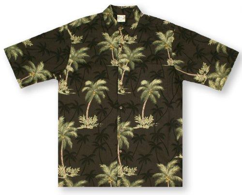 Shirt Go Barefoot Hawaiian (Go Barefoot Coconut Trees- Black Hawaiian Shirt)