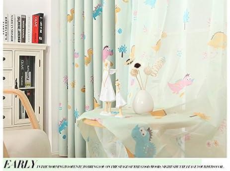 MZPRIDE Cute Dinosaur Curtains For Kids Room Cartoon Sheer Green