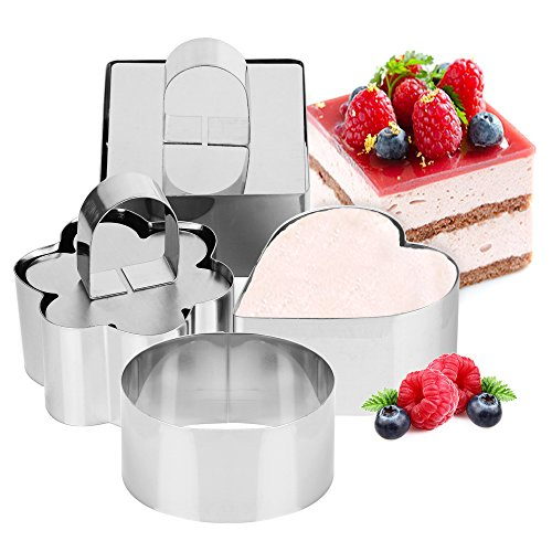Set of 4 - Stainless Steel Small Cake Rings, Mousse and Pastry Mini Baking Mold Include -Round, Heart, Box, Flower with Pusher ()