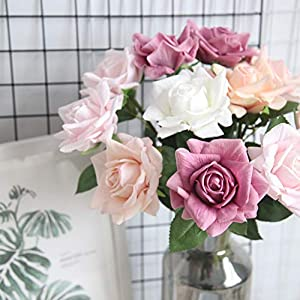 Gotian Flannel Rose Flowers for Wedding Party Home Design Bouquet Decor ~ Moisturizing Real Touch Rose Artificial Flower ~ The Best on The Market ~ 96