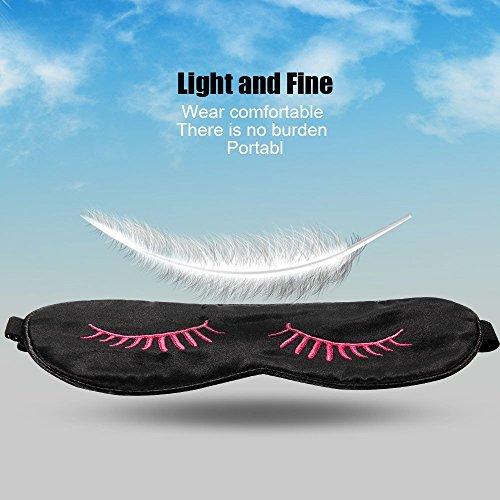 HamFire Silk Sleep Mask Blindfold Eyeshade Eyelashes Style Breathable Soft Protect Eye Mask for Travelling, Sleeping, Relaxation, Spa, Daydream on Plane with Two Ear Plugs