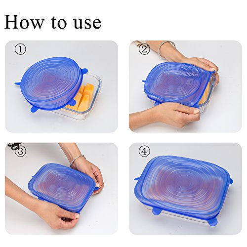 ANPHSIN 12 PCS Silicone Stretch lid - Durable Expandable Food Saver Cover for Bowel, Can, Cup
