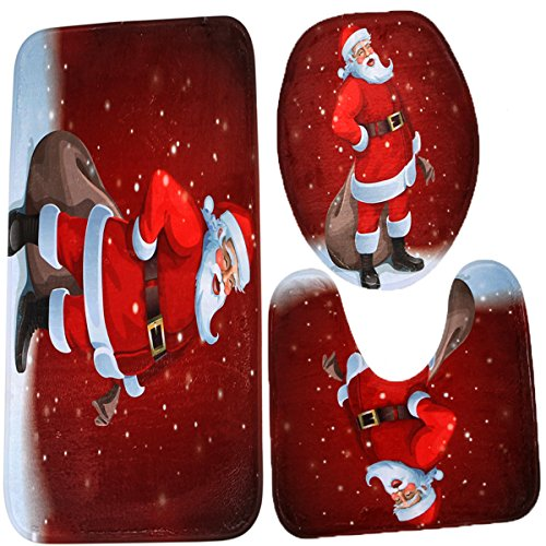 Merry Christmas Snowman Bath Mat Set,3 Piece Bathroom Mats Set Non-Slip Bathroom Rugs/Contour Mat/Toilet Cover (Santa Claus with Present)