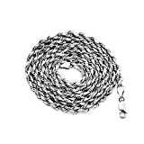 LoveBling 10K White Gold 5mm Diamond Cut Hollow Rope Chain Necklace with Lobster Lock (22'')