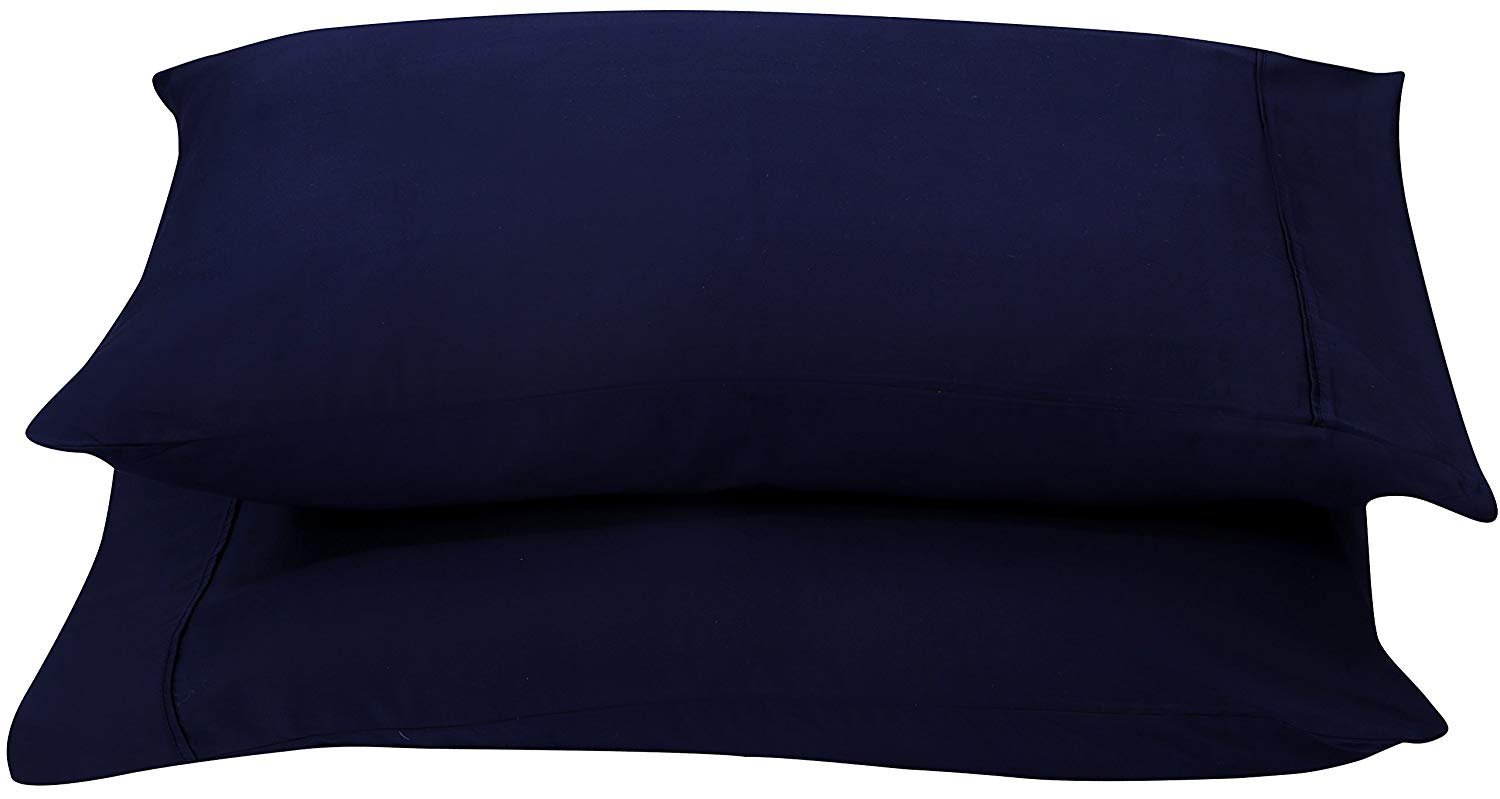 Pillow Case 2 Qty - 100% Cotton 400 Thread Count King Size Navy Blue Solid Color