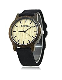 Bewell Men's Fashion Wrist Watch with Sandalwood Case Canvas Band Quartz Watches for Men W134A (BLACK)