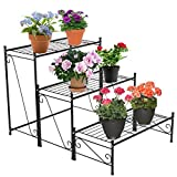 Cheap DOEWORKS Metal Plant Shelf, 3 Tier Patio Iron Plant Stand for or Large Flower Pot Outdoor Indoor
