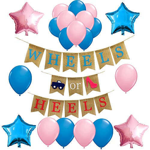 (Gender Reveal Party Supplies and Decorations,Wheels or Heels Theme Burlap Banner for Boy or Girl,Pink or Blue,Baby Shower Ideas, Pregnancy Photo Prop)