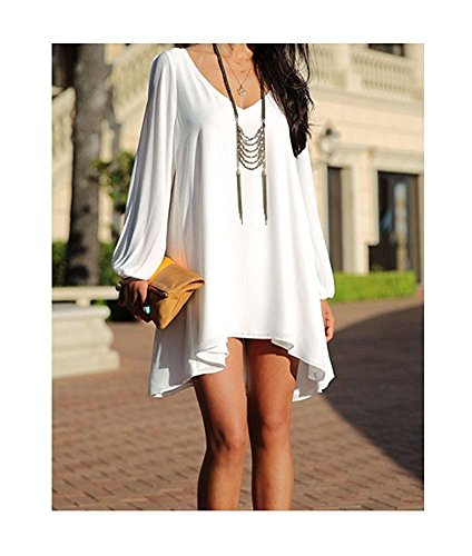 Sleeve Neck V Chiffon Blouse Women White Party Mini Casual Dress ARJOSA Open X1fRHwx