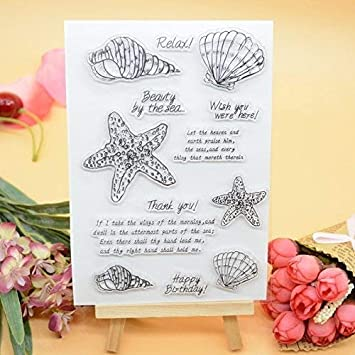 WooYangFun Joyful Home 1pc Thank you Flower Rubber Clear Stamp for Card Making Decoration and Scrapbooking