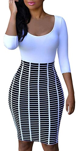 Buy black and white striped long sleeved bodycon dress - 9