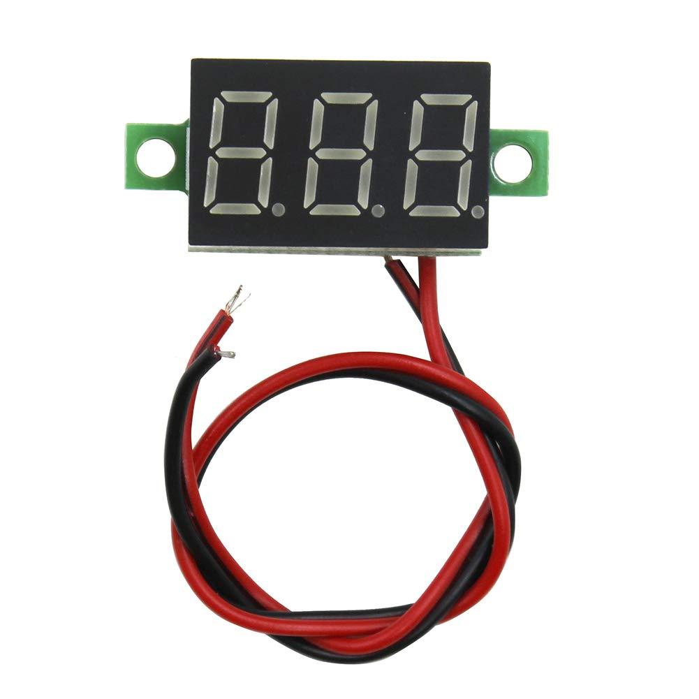 IZOKEE 3pcs 0,36 Pouce Mini Voltm/ètre Num/érique Panneau 2.7-32V DC 2 Fils Testeur de Tension LED Affichage