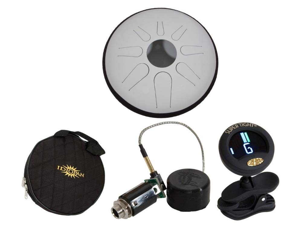 Idiopan Drum Package Includes: 12'' Tunable Tongue Drum, Glow-in-the-dark White + 12'' Standard Gig Bag Tongue Drum + Electric Pickup For 12'' Tongue Drums, 150hz + Chromatic Tuner
