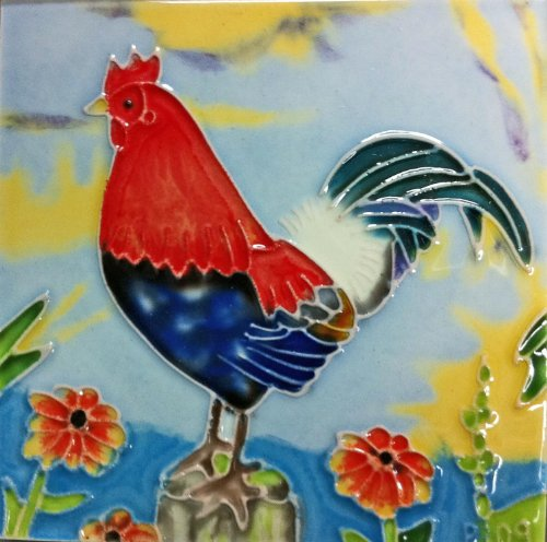 Continental Art Center SD-030 4 by 4-Inch Rooster No.4 Ceramic Art Tile (Tile Rooster Box)