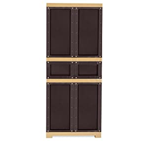 Nilkamal Freedom FMDR 1C Plastic Storage Cabinet with 1 Drawer (Weathered Brown & Biscuit)