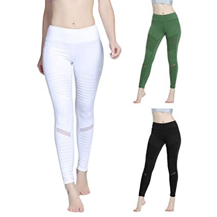 Duk3ichton Pantalones De Yoga Plisados De Malla De Retazos ...