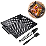 BBQ Masters Non-stick Grilling Basket BBQ Accessories for All Grills and Veggies  Use as Wok, Pan, or Smoker Meats- Large Portable Indoor Outdoor - Outdoor Barbecue Camping Campfire Use