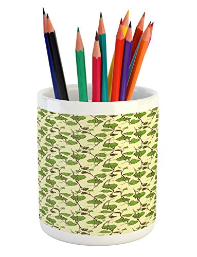 Ambesonne Vine Pencil Pen Holder, Grapevine Pattern with Repeating Hand-Drawn Green Leaves Illustration, Printed Ceramic Pencil Pen Holder for Desk Office Accessory, Cream Lime Green and Brown