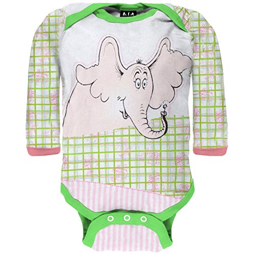 09 Old Body (Dr. Seuss - Baby-Girls Fun Horton LS Bodysuit - 6-9 Months Light Green)