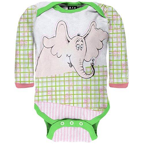 Dr. Seuss - Baby-Girls Fun Horton LS Bodysuit - 6-9 Months Light Green (Old Body 09)