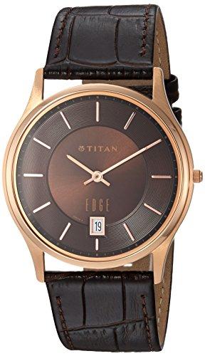 Titan Men's 'Edge' Quartz Stainless Steel and Leather Dress Watch, Color:Black (Model: 1683WL01) ()