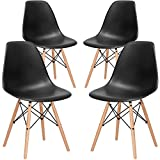 Poly and Bark EM-105-NAT-BLK-X4 Eames Style DSW Side Chair with a Natural Base (Set of 4), Black