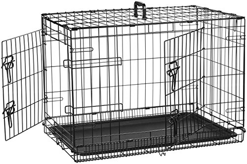 AmazonBasics Double-Door Folding Metal Dog Crate Cage - 30 x 19 x 21 Inches