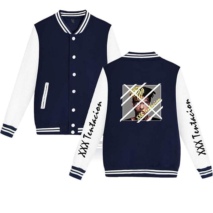 Abrigo Unisex Xxxtentacion Fashion Baseball Uniforme para Hombres y Mujeres Sudaderas Cardigan Abrigo Cálido Chaqueta de Béisbol Estampada Cardigan: ...