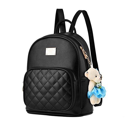 for Leather Women Satchel Knapsack PU Black01 College Bags Purse School Backpack Mogor EawzdUxqE