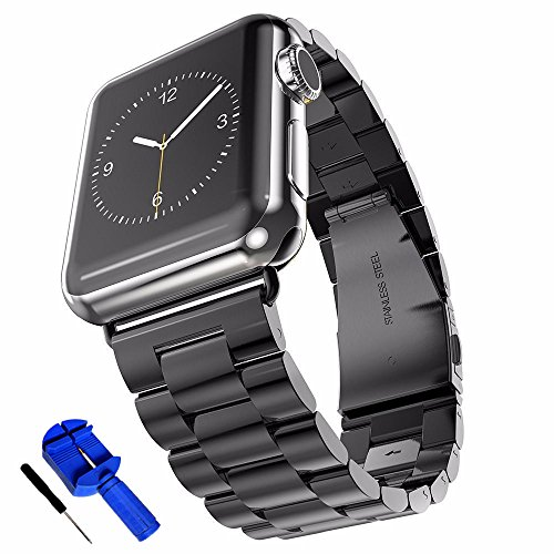 (HUANLONG Solid Stainless Steel Metal Replacement 3 Pointers Watchband Bracelet with Double Button Folding Clasp Compatible with Apple Watch Iwatch Series 1/2/3/4(Black 38mm))
