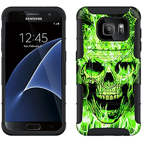 Samsung Galaxy S7 Armor Hybrid Case Flaming Green Skull on Black 2 Piece Case with Holster for Samsung Galaxy S7 Sales