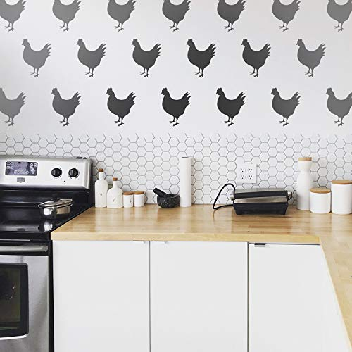(Set of 12 Vinyl Wall Art Decals - Chickens - 9