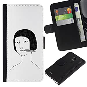 A-type (Asian Girl Portrait Drawing White Black) Colorida Impresión Funda Cuero Monedero Caja Bolsa Cubierta Caja Piel Card Slots Para Samsung Galaxy S4 Mini i9190 (NOT S4)