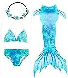 GALLDEALS 4pcs Mermaid Tails for Swimming, Kids Girls Princess Bikini Set Swimsuit Swimwear, 3-12Years (No Monofin) Turquoise Blue