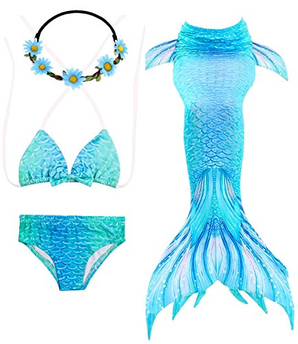 GALLDEALS 4pcs Mermaid Tails for Swimming, Kids Girls Princess Bikini Set Swimsuit Swimwear, 3-12Years (No Monofin) Turquoise Blue ()