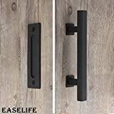 12'' Barn Door Hardware Handle Set with Pull and Flush,Black Powder Coated Finish