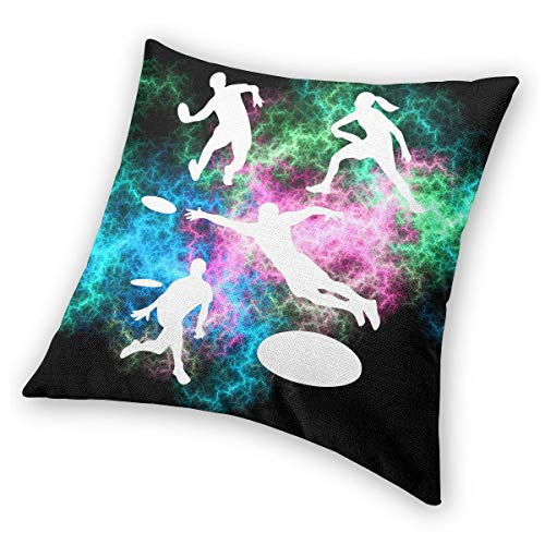 Ultimate Pillow Throw - AW-KOCP Pack of 2 Playing Ultimate Frisbee Silhouettes Decorative Square Throw Pillow Covers Set Cushion Case for Sofa Bedroom Home Decor