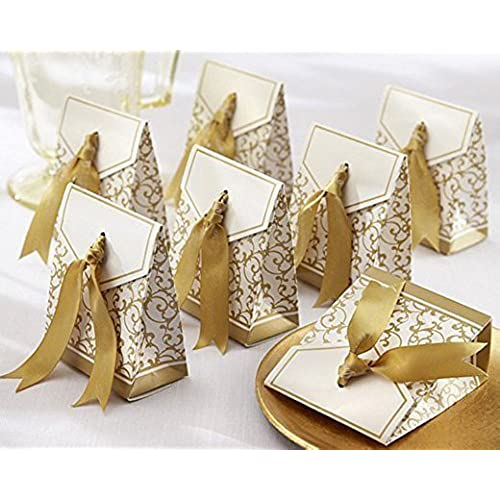 Cheap wedding favors amazon gold ribbon wedding favor boxes junglespirit Gallery