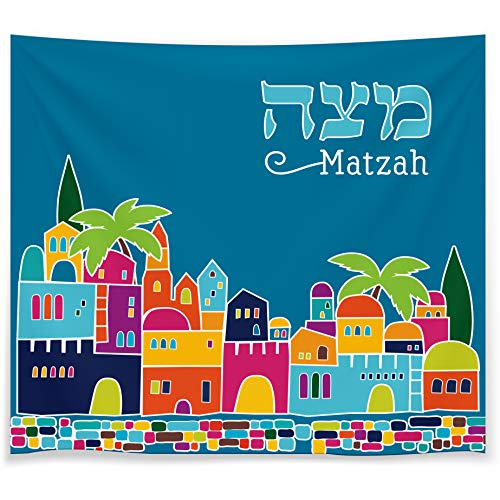 Passover Matzah Cover Matza Bag 3 Layered Satin Matzo Bag For The Passover Seder - Blue