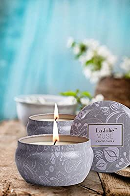 LA JOLIE MUSE Scented Candles Aromatherapy Candle Gift Soy Wax, Stress Relief Travel Tin, 45 Hours Burn Time