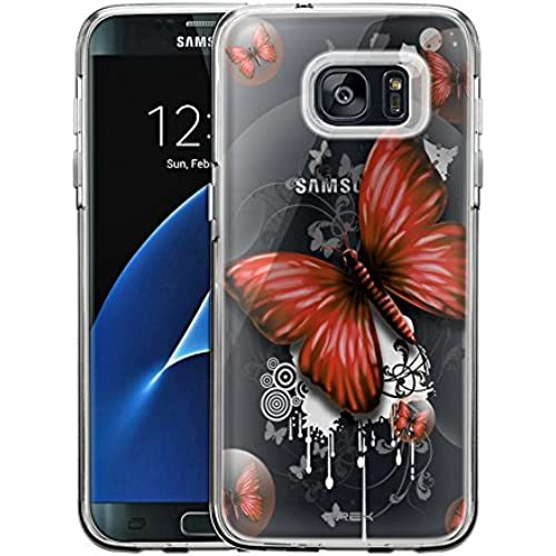 Samsung Galaxy S7 Edge Case, Slim Fit Snap On Cover by Trek Highlighted Butterfly Red Clear Case Sales