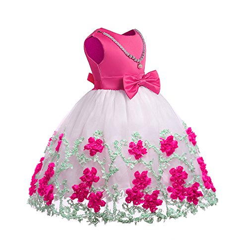 OURDREAM Girls Dresses Wedding A-line Party Dresses 2018 Christmas Gift for Daughter Size 4T(Rose,120)