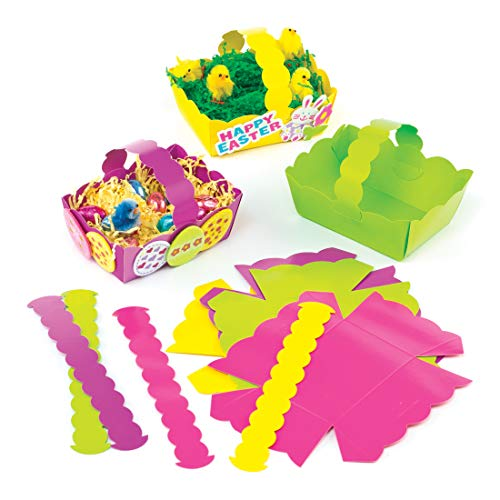 Baker Ross Easter Colored Card Craft Baskets (Pack of 12) for Kids to Decorate and Fill with Eggs or -