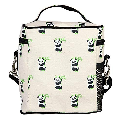 - EcoRight Lunch Bag Reusable Cotton Canvas EcoFriendly Insulated Cooler Washable Zipper for Men, Women, Adults Printed Pandas (Natural) - (0801S01)