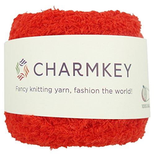 Charmkey Shaggy Fur Yarn Baby Soft 5 Bulky Fuzzy 100 Percent Polyester Velvet Knitting Yarn 12 Ply for Fluffy Dolls Blanket Furry Amigurumi Toys, 1 Skein, 3.53 Ounce (Cherry Tomato) ()