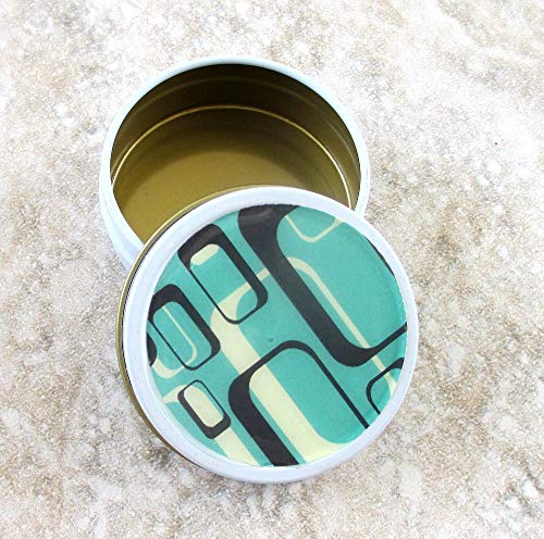 Teal Mod Decorative Tin, Screw top lid, 2oz capacity